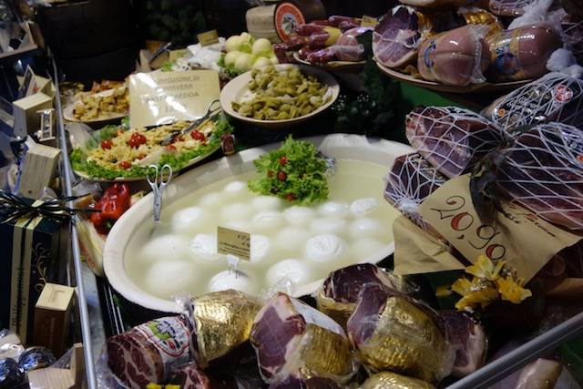 Cheese display in Bologna