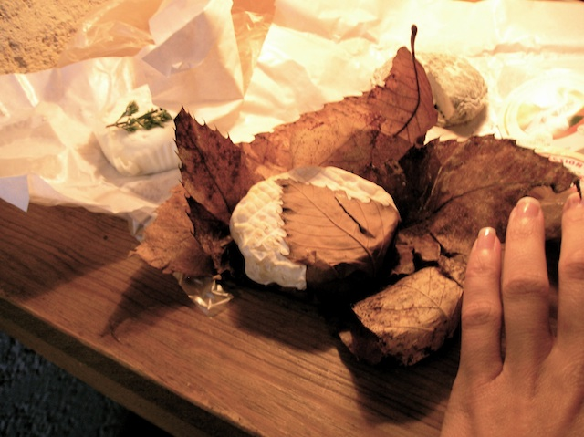 Banon wrapped in chestnut leaves, photo by Kathe Lison