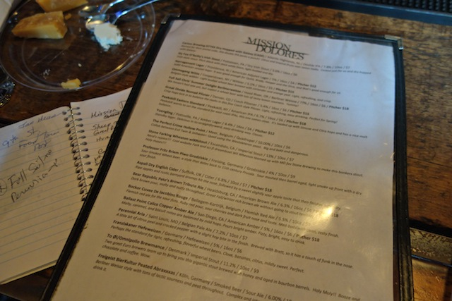 The beer list at Mission Dolores (note: it changes often)