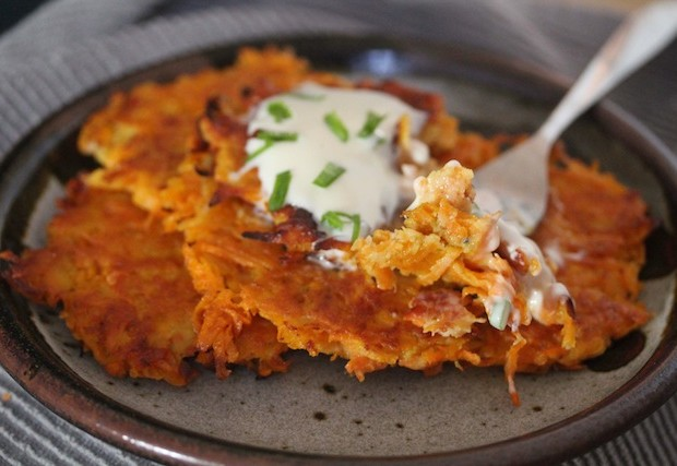 Latkes with fork