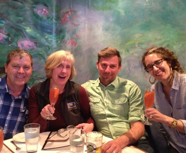 Surrounded by cheesemakers: Brent Zimmerman, Sue Miller, Kristian Holbrook