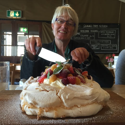 Mary Quicke with Pavlova