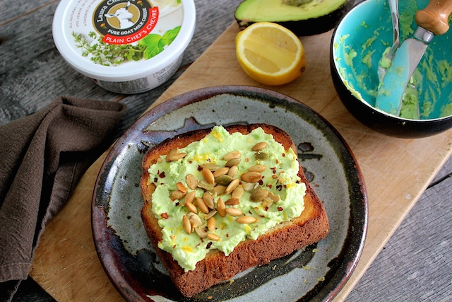 Chevre Avocado Toast with Laura Chenel Plain Chevre