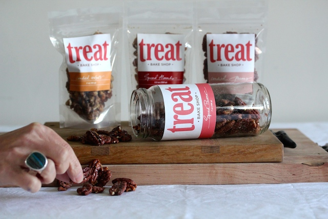 Treat Bakeshop spiced pecans, candied pecans, spiced walnuts -- great for cheese!