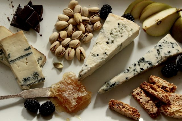 Blue cheese board with honey and chocolate